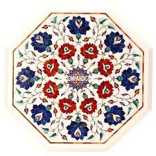 White Marble Coffee Table Top Lapis Inlay Hallway Mosaic Art Bedroom Decor H3549