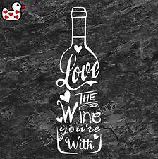 LOVE IL VINO STAI CON Parete In Vinile ARTE Adesivo Murale Citazione CHAMPAGNE PROSECCO