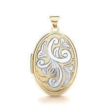 9ct due colori oro Medaglione ovale con motivi