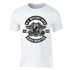 Military Veteran T-Shirt POW MIA Memorial Army USA Motorcycle Flag Tshirt White