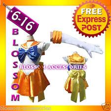G48 Sailor Moon Venus Sailormoon Costume Cosplay Uniform Fancy Dress + Gloves