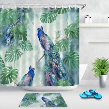Waterproof Fabric Shower Curtain Set Watercolor Tropical Leaves Monstera Peacock
