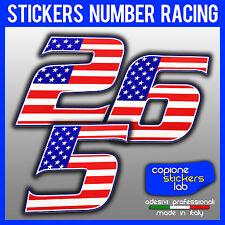 Adesivo Numero Moto Auto Racing USA Flag 10 cm