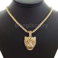 "Hip Hop Tiger Head Pendant 18"" Full 1 ROW DIAMOND Tennis Choker Chain Necklace"