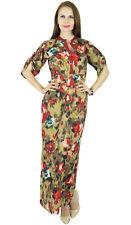 Bimba Women Printed Long Maxi 3/4 Sleeve Cotton Full Length Dress- Button On Fro