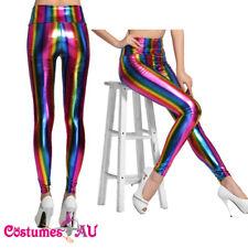 1980s 1990s 80s Neon Rainbow Leggings Disco Fluro Metallic Costume Pants Madonna