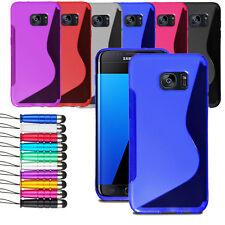 For Samsung Galaxy S7 Edge S7E Grip Wave Gel Skin Case Cover + Film + Stylus