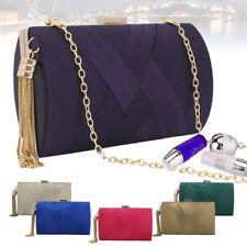 Womens Ladies Pleated Satin Metal Evening Party Wedding Clutch Bag Purse Handbag