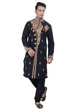 Indian Designer Black Kurta Sherwani for Men 2pc Suit - (Worldwide Postage)