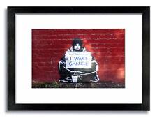 Banksy Graffiti - Beggar - I Want Change Mounted Print - Framed or Unframed