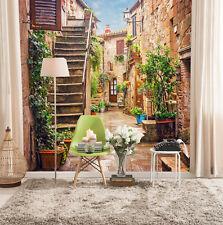 3D Cour Escaliers 4 Photo Papier Peint en Autocollant Murale Plafond Chambre Art