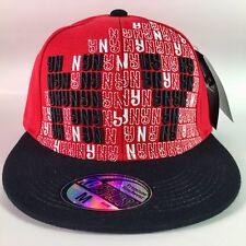 NEW BLACK & RED BLING HIP HOP NY BASEBALL CAP, FITTED FLAT PEAK, NEW YORK HATS