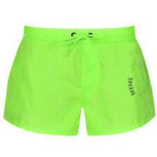 Diesel Short Swim Beach Shorts Lime Green Small Slim Fit Fold & Go Mohican Head