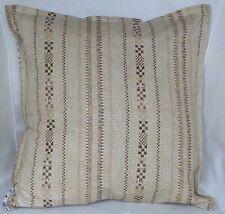 "Cushion Cover retro brown striped print 100% cotton zipped 18"" & 16"" -  FREE p&p"