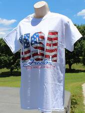 Gildan white t shirt Patriotic Flag USA Freedom the American Way NWT