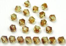 Czech MC Glass Bicone Beads (Rondell/Diamond) Filemot 2tone brown yellow crystal