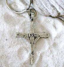 CHRISTIAN CROSS INRI CRUCIFIX Pewter KEYCHAIN Key Ring