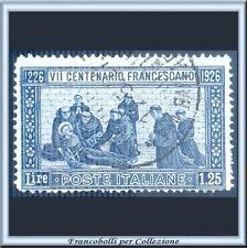 1926 Italia Regno San Francesco L. 1,25 azzurro Dentellato 13½  n. 196 Usato