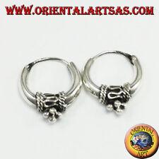 Orecchini in argento a cerchio mezzaluna decorato di diametro Ø mm. 17