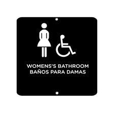 Women'S Bathroom Ba±os Para Damas Ada Ada Bilingual Aluminum METAL SIGN