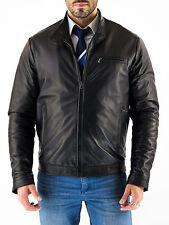 ★Giacca Giubbotto Uomo in di PELLE 100% Men Leather Jacket Veste Homme Cuir zc8d