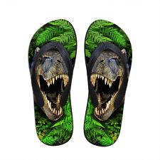Men's Flip Flops 3D Dinosaur Summer Beach Shoes Casual Anti-slip Sandals Size 7