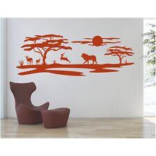 Landschaft Wandtattoo  Löwe Afrika Affenbrotbaum Savanne Sticker Wandaufkleber