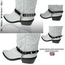 Original señoras real color negro de cuero tachonado Bootstraps gótico Biker Punk Fashion