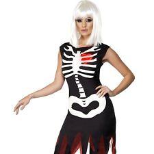 Ladies Bright Bones Skeleton Costume Light Up Halloween Womens Fancy Dress