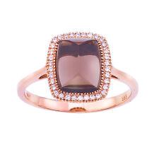 14k Rose Gold Cushion Smokey Topaz Cab and Diamond Ring