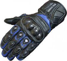 Motorradhandschuhe Leder Motorrad Handschuhe Biker Lederhandschuhe Blau/Schwarz
