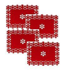 Beautiful Christmas Placemats Set 4 8 12 Snowflake Lazercut Red Felt Table Decor