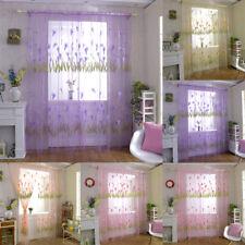 CO_ Flower Voile Rod Pocket Window Curtain Sheer Drape Home Bedroom Decor Cheap