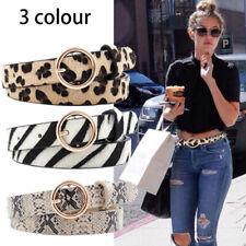 Leopard Belt Women Snake Zebra Print Thin Horsehair Waist Belt Gold Ring Buc_ws