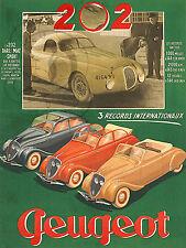 PLAQUE ALU REPRODUISANT UNE AFFICHE PEUGEOT 202 1938 RECORD