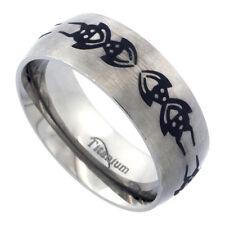 8mm Titanium Wedding Band Ring w/ Tribal Spider Pattern,Satin Finish Comfort Fit