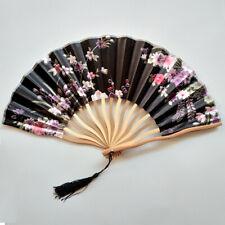 Hand Held Fans Chinese Style Peony Silk Bamboo Folding Fan Tassel Hot