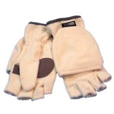Wind Shield Women White Fleece Fingerless Gloves Convertible Mitten Top