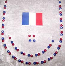 Frankreich Perlen Ohrhänger Kette Armband France Nationalmannschaft EM WM