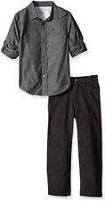Calvin Klein Boys Gray Woven Shirt 2pc Pant Set Size 2T 3T 4T 4 5 6