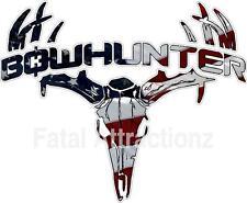 American Flag Bowhunter Deer Skull S4 Vinyl Sticker Decal whitetail USA buck