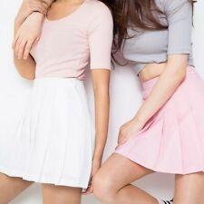 Women High Waist Zip Slim Tennis Plain Skater Pleated Short Mini Skirt Shorts AU