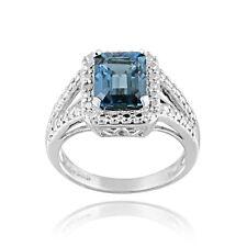 925 Silver 3.4ct Emerald-Cut London Blue Topaz & Diamond Accent Ring
