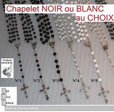 CHAPELET NOIR ou BLANC FASHION CRISTIANO ROSARY au CHOIX NEUF