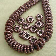 50pcs-Spacer Beads, Antique Copper 7x2mm.