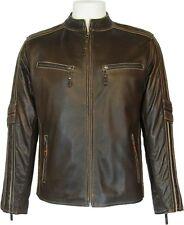 UNICORN Clásica hombres de cuero real del motorista del estilo la chaqueta #S4