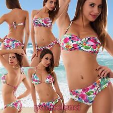Bikini donna costume da bagno mare fascia floreale due pezzi ruches nuovo B2359