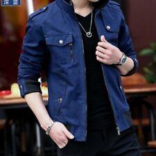 2019 Men Spring Jackets Cotton Stand Collar Solid Korean Leisure Coat Outwear Sz