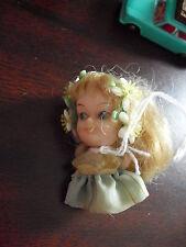 "Vintage 1970s Miniature Vinyl Blonde Girl Doll 2 1/8"" Tall Lb Mark"