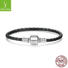 925 Sterling Silver Black Leather Bracelets with Snake Chain Unisex DIY Bracelet